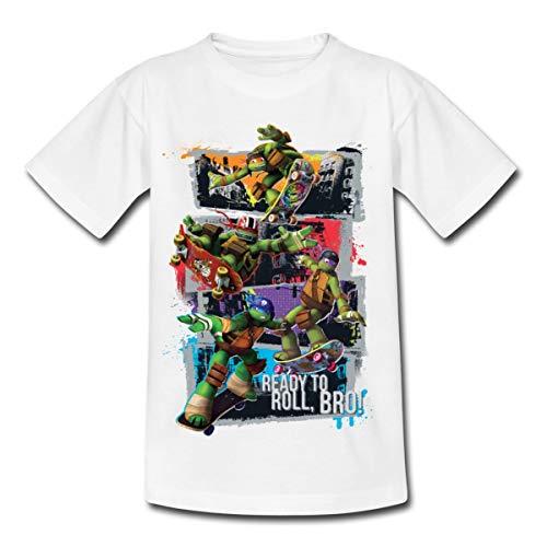 TMNT Turtles Leo Donnie Raph Mikey Fahren Skateboard Kinder T-Shirt, 110-116, Weiß