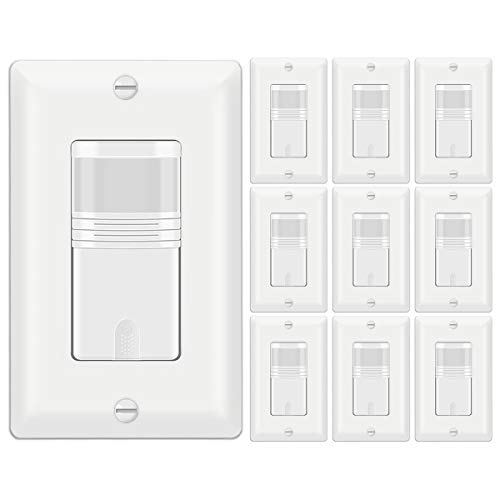 [10 Pack] BESTTEN Motion Sensor Light Switch, Single Pole PIR Sensor Wall Switch, Occupancy & Vacancy Modes, 120V/277VAC, 60Hz, 1/6HP, Neutral Wire Required, Wallplate Included, UL Listed, White