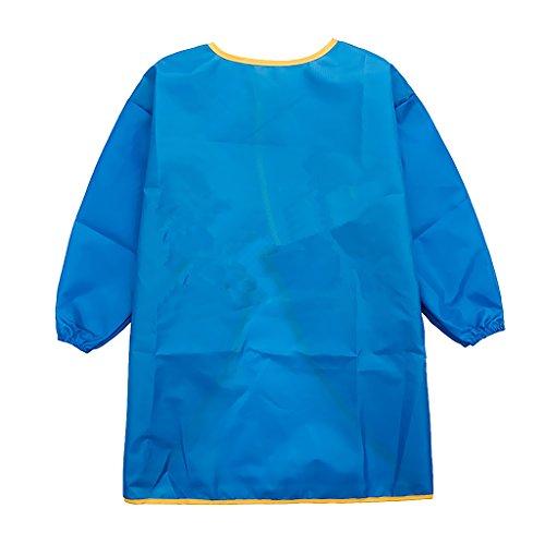 Homyl Kinder Kunstkittel Malschürze Wasserdichter Malkittel mit Langen Ärmeln Kinderschürze - Blau, L