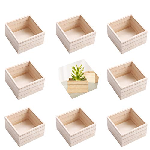 (8 Pack) 4' x 4' Rustic Wooden Boxes - Unfinished Wooden Box for Crafts, Home Decoration, and Centerpiece Boxes for Table