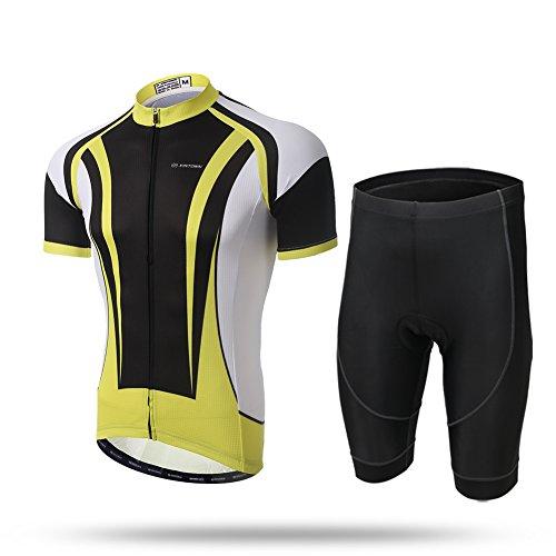 Lesrly-Cycle Conjunto de ropa de ciclismo de manga corta para hombre, camisas MTB con cierre automático completo y pantalones cortos de bicicleta con almohadilla de gel 3D, negro, amarillo, XXL