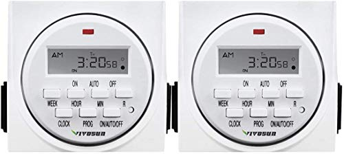 VIVOSUN 7 Day Programmable Digital Timer Switch with 2 Outlets - Accurate & Stable, UL Listed 1-Pack