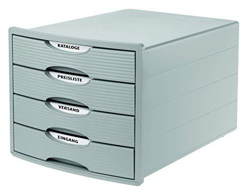 HAN Cajonera MONITOR – Diseño innovador y atractivo de la más alta calidad con 4 cajones cerrados para DIN A4/C4, caja de almacenamiento disponible exclusivamente en Amazon, gris claro 1001-11