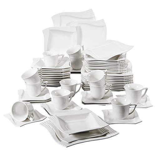 MALACASA, Serie Amparo, 60 Pezzi in Porcellana da Tavola Set con 12 Piatto da Dessert 12 Tazze di caffè 12 Piattino 12 Piatto Fondo 12 Piatto Piani per 12 Persona Colore Bianco