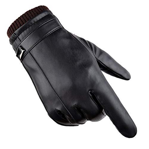 Wepop Inverno Guanti Uomo PU Pelle Touchscreen Caldo Vello Antivento Prova Freddo Termico Mittens Anti Scivolo per Attività All'aperto Ciclismo a Motore Caccia Campeggio Correre