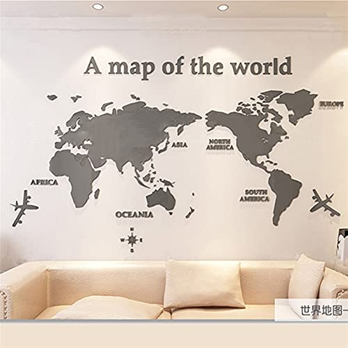 WSF-MAP, 1 stück 3d wandaufkleber acryl wand dekorationen wohnzimmer schlafzimmer welkkarte aufkleber wohnkultur 5 größen einteiler tapete (Farbe : Grau, Größe : XXL 2.8x1.4m)