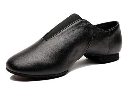 Mrsdressshop Unisex Leather Upper Jazz Ballet Dancing Shoes Slip-on for Girls and Boys, Black, 3.5 Big Kid