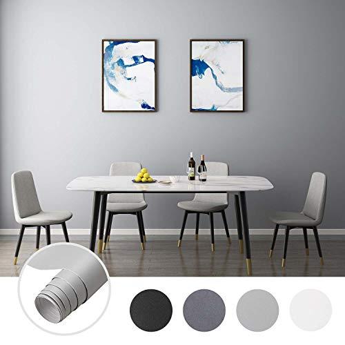 iKINLO 61 x 500 cm Klebefolie Dekofolie Möbelfolie Tapeten Selbstklebende Folie Matt Verdickte Küchenschrank Aufkleber für Möbel Schrank Tische Wand, Hellgrau 1 Rolle
