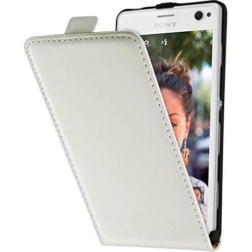 PhoneNatic Kunst-Lederhülle kompatibel mit Sony Xperia C4 / Dual - Flip-Hülle weiß + 2 Schutzfolien