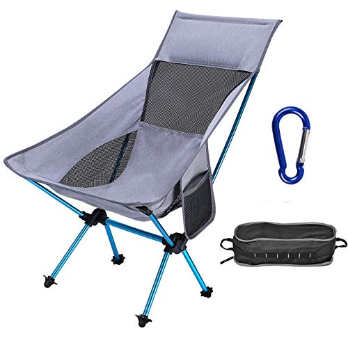ACTIONCLUB Folding HighBack Camping Chair - Portable Outdoor Backpack Camp Chair with Headrest for Picnic Beach Hiking Fishing - 310 Lbs Capacity