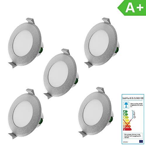 LED Einbauleuchten Dimmbar IP44 Farbe Silber 5 x 8Watt 230 Volt 720lm Warmweiss LED Einbaustrahler LED Spots