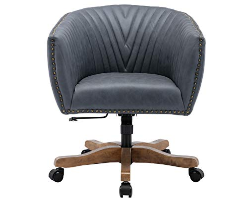 Guyou Retro Barrel Leathaire Home Office Desk Chair with Swivel Wood Base, Upholstered Ergonomic Accent Armchair with Luxurious Nailheads and Pleated Mid-Back,Dark Grey in Faux Leather
