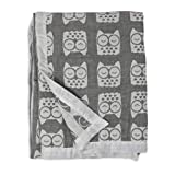 Living Textiles Muslin Jacquard Grey Owl Soft Baby Blanket PREMIUM QUALITY 100% Cotton for BEST COMFORT | Double Layer,Swaddle,Receiving,Infant,Toddler,Newborn,Nursery,Boy,Girl,Crib,Gift | 40x30 Inch