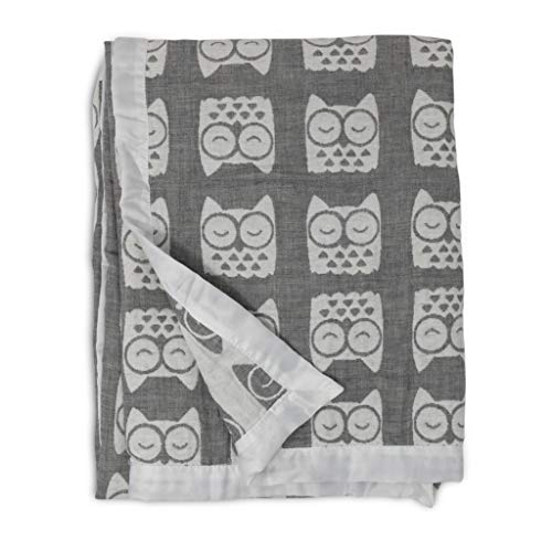 Living Textiles Muslin Jacquard Grey Owl Soft Baby Blanket PREMIUM QUALITY 100% Cotton for BEST...