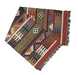Handarbeit Bazarr 2 x 1,8 m Wolle Juteteteppich handgewebt Kelim-Teppich Meditationsläufer große Fläche Boden Teppich Überwurf Yoga Matte Pray Dhuries Nawaz Matte