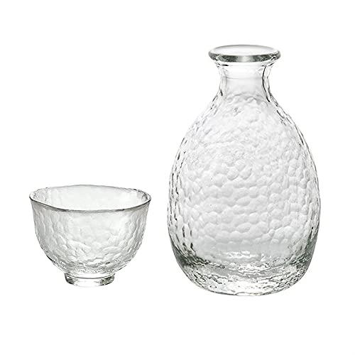 Botellas y juegos de sake Caja de regalo Hip Flask de la cadera de vidrio creativo martillado conjuntos de regalo 1x Hip Flask 2x
