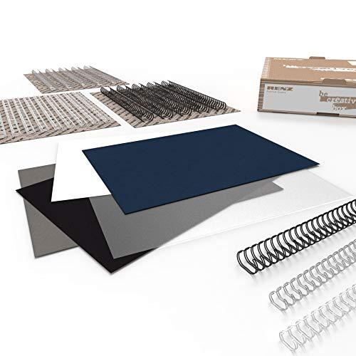 RENZ BE CREATIVE BOX – CLASSIC, Starterkit mit Einbanddeckeln und Drahtbinderücken, Größe DIN A4