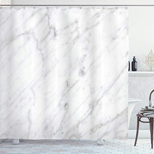 Alvaradod Marmor Duschvorhang,Carrara Marmorfliesen Oberfläche Bio-Stil Granit Modell Modernes Design,Stoff Stoff Badezimmer Dekor Set mit,Grau Weiß Witzh 12 Kunststoffhaken 180x180cm