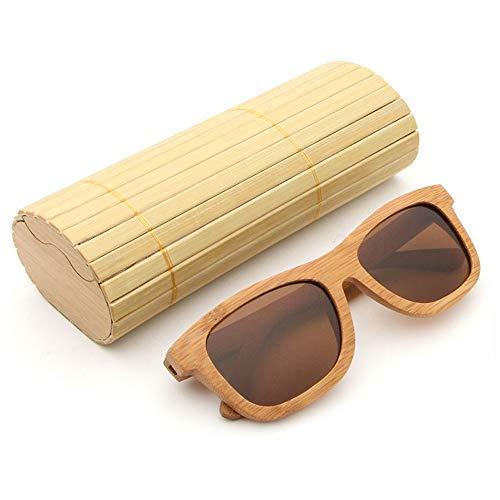 Yeeseu Gafas de sol de la vendimia de madera de bambú gafas de sol polarizadas de madera clásico de la manera de los hombres y las mujeres unisex de los vidrios vidrios de la manera (color: verde, Tam