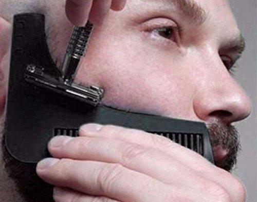 Bartkamm - Schablone für Herren - leicht und flexibel - Einheitsgröße - Kurvenschnitt - Formwerkzeuge - Randkonturlinie für Bart, Schnurrbart, Koteletten und Halslinie