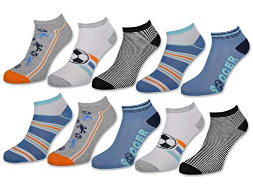 10 Paar Kinder Sneaker Socken Jungen & Mädchen Baumwolle Kindersocken (27-30, 10 Paar   56568)
