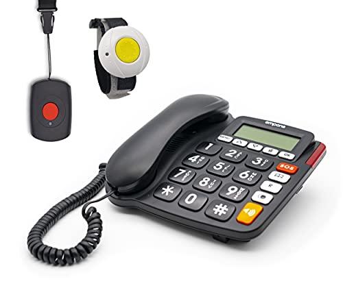 EMPORIA KFT19 SOS 30 Notrufnummern(G-TELWARE®) Haus-Notruf-Seniorentelefon mit Funk-SOS-Sender, schnurgebundenes Festnetztelefon, 1 Armband+/ 1Handsender, JUMBOtasten, TAE Stecker, Hörgerätekompatibel