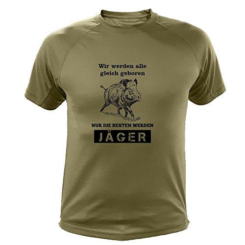 Jagd T Shirt, Wildschwein Design, Wir Werden alle gleich geboren nur die besten Werden Jäger, Lustiges Geschenk für Jäger (20144, grün, 5a)