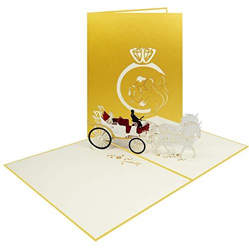 XXL Edel Gold Pop Up Hochzeitskarte 3D Karte zur Hochzeit Verlobung Brautpaar Glückwunsch Zeremonie Jahrestag - Hochzeitskutsche 044