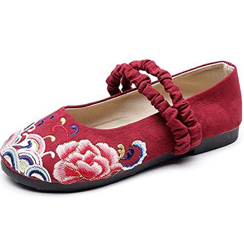 JFTMY Encaje Zapatos Bordados Arte Cola algodón cáñamo Estilo Chino Ropa Zapatos Viejos Beijing Tela Zapatos Mujeres Zapatos Casuales (Color : Red, Size : Code 39)