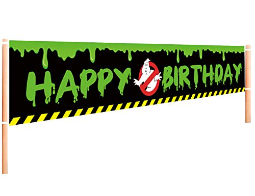 Large Ghost Busters Happy Birthday Banner   Ghostbusters Birthday Party Supplies Decoration   Ghost Busters Birthday Party Hanging Decoration - 9.8 x 1.6FT