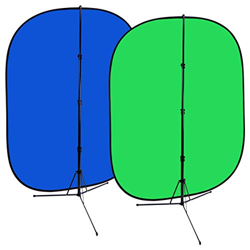 Fotodiox 5 x7  Collapsible Chromakey Green + Blue 2-in-1 Background, Backdrop kit w Stand Support