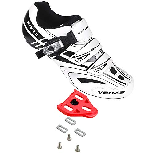 Venzo RX Road Bike Compatible with Shimano SPD SL Look Cycling Shoes and Look Delta Indoor Cleats White Size 50