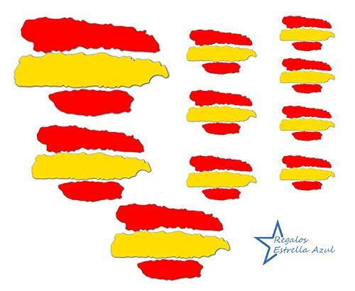 REGALOS ESTRELLA AZUL Pegatinas Banderas de España, Pack de 10 Stickers Pegatina España