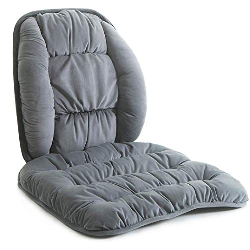 Orthopedic Chair Lumbar Support Cushion Set Non-Slip Bottom Coccyx Pads Fluffy Warm Adjustable Curvature Low Back Pain Relief Lumbar Relax PillowFor Office,Dinning Chair,Recliners,Sofa and Car Grey