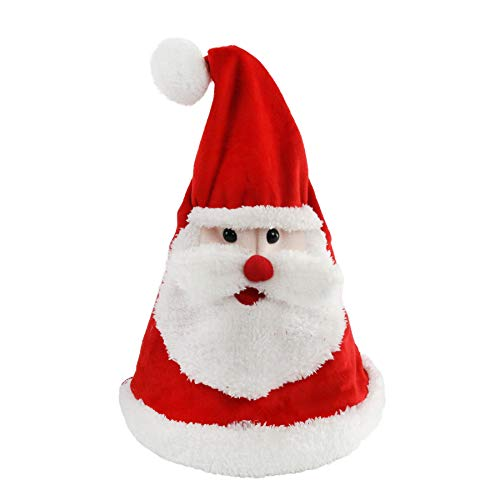 Houwsbaby Glowing Dancing Singing Santa Hat Christmas Interactive Toys with Music Electronic Cap Sing a Song 'Jingle Bell' Funny Xmas Gift for Kids Girls Boys Adults, Red, 14.5''
