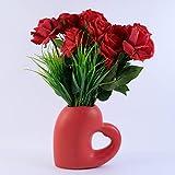 Ceramic Heart Rose Flower vase, Valentines Day Flower Gift, Mothers Day Flower Gift, Love Gifts. red, White, Beige, Teal, Black Stripe, red Stripe. (Red)