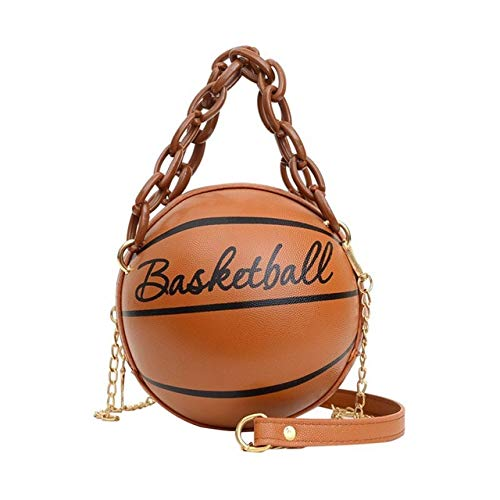 Mdsfe Personality female leather pink basketball bag 2020 new ball purses for teenagers women shoulder bags crossbody chain hand bags - Brown,a5