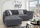 lifestyle4living Ecksofa mit Schlaffunktion in Anthrazit mit großen Rücken-Kissen, Microfaser-Stoff   Gemütliches L-Sofa mit Longchair im modernen Look