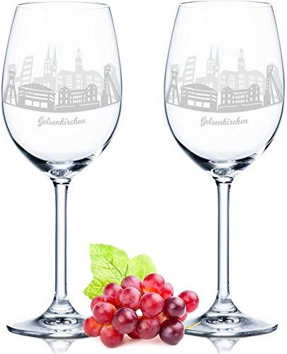 Leonardo Weinglas mit Gravur - Gelsenkirchen Geschenk im 2er Set - Weingeschenk - Souvenir Andenken und Mitbringsel - Geburtstagsgeschenk für Sie und Ihn