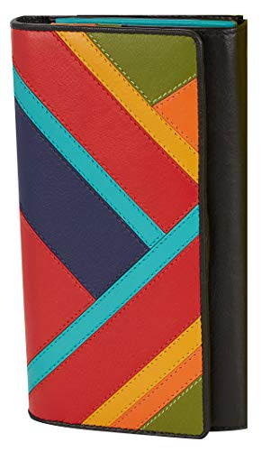Visconti ® Leder Portemonnaie Damen RFID Schutz Geldbeutel Damen Geldbörse Bifold Mehrfarbig Portmonee in Geschenk-Box Clara Purse (CR11)