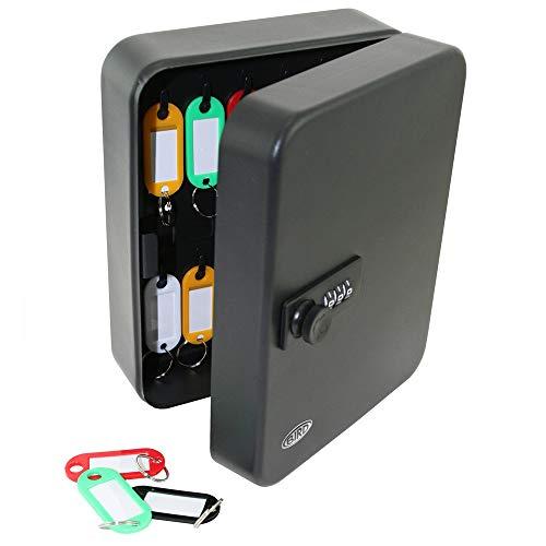 キーキャビネット 20ビットキーボックス キー管理キャビネット 壁取り付け式キーボックス 20キーカード 家族 ホテル 学校 商業用 (ブラック)