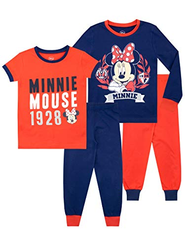 Disney Pijamas Minnie Mouse de Manga Corta para niñas Paquete de 2 de Ajuste Ceñido Multicolor 4-5 Años