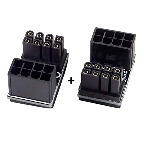 CY ATX 8Pin Female to 8pin Male 180 Degree Angled Adapter for Desktops Graphics Card
