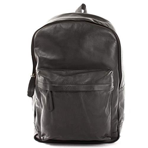 LECONI Rucksack Vintage-Look für Damen + Herren Wanderrucksack Rindsleder praktischer Lederrucksack backpack DIN A4 Retro Freizeitrucksack 30x40x12cm LE1009, Schwarz – Waxy, L