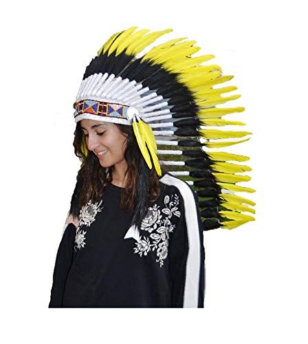 KARMABCN N83 - Native American Inspired Medium Black Feather Headdress (36 Inch Long)/War Bonnet...