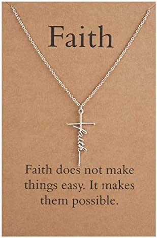 Lcherry Faith Cross Necklace Stainless Steel Faith Pendant Necklace Religious Jewelry for Women product image