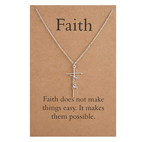 Faith Cross Necklace Stainless Steel Faith Pendant Necklace Religious Jewelry for Women