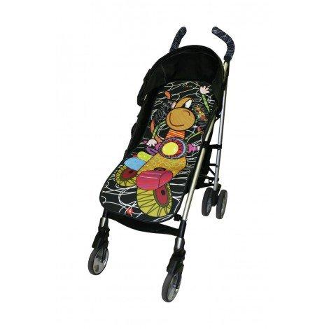 Tris&Ton colchoneta silla de paseo ligera universal para carrito cochecito bebe transpirable de microfibra modelo Moto Negra + protección de arneses (Trisyton)