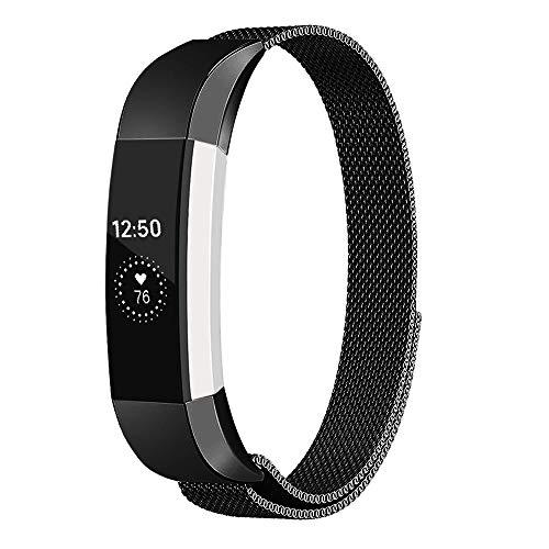 Digit.Tail Milanaise Armband aus Metall Wechselarmband Uhrenarmband Erstatzband für Fitbit Alta und Alta HR (Small - Schwarz)