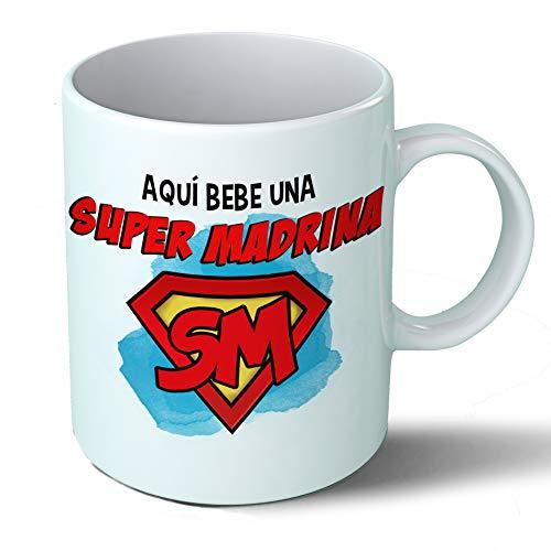 Planetacase Taza Madrina - Aquí Bebe Una Super Madrina - Regalo Original Madrinas Supermadrina Familia Taza Desayuno Café Ceramica 330 mL